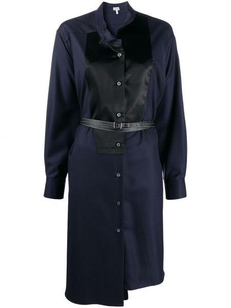Черное платье миди на пуговицах с длинными рукавами с манжетами Loewe