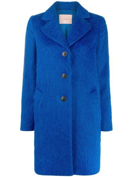 Однобортное синее пальто из альпаки на пуговицах Twin-set
