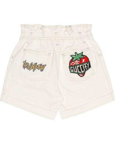 Джинсовые шорты белые итальянский Gucci Kids