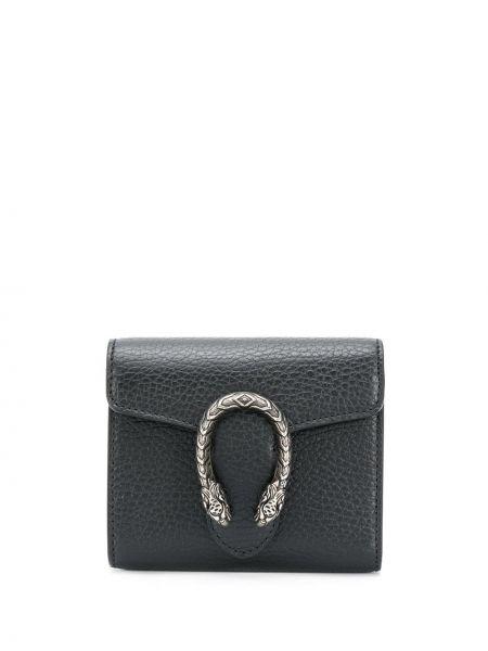 Czarny portfel skórzany z prawdziwej skóry z gniazdem Gucci