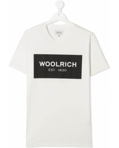 Прямая хлопковая белая футболка с короткими рукавами Woolrich Kids