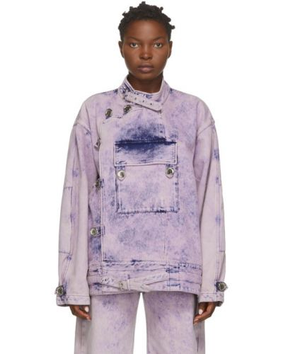 Армейская розовая джинсовая куртка с манжетами с воротником Marques Almeida