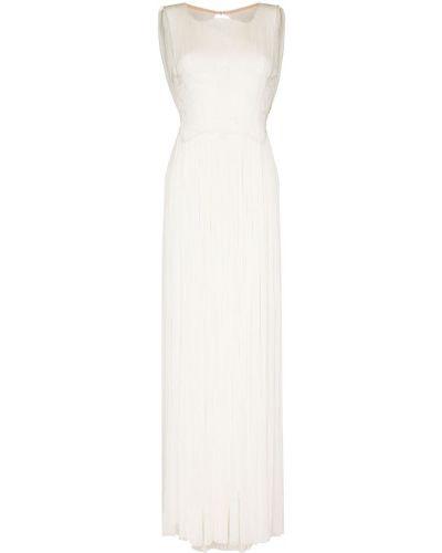 Вечернее платье с драпировкой - белое Maria Lucia Hohan