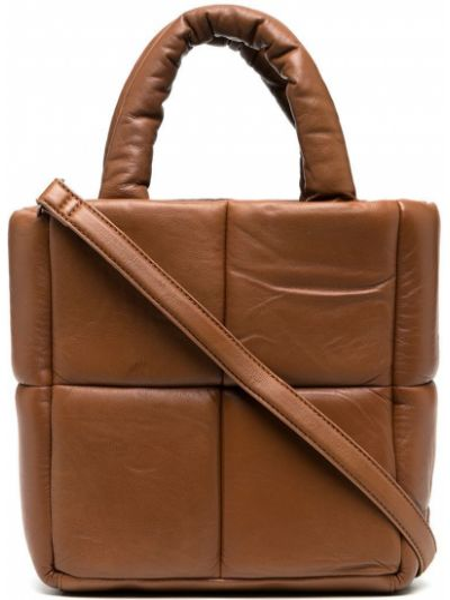 Кожаная коричневая стеганая сумка-тоут на молнии Stand