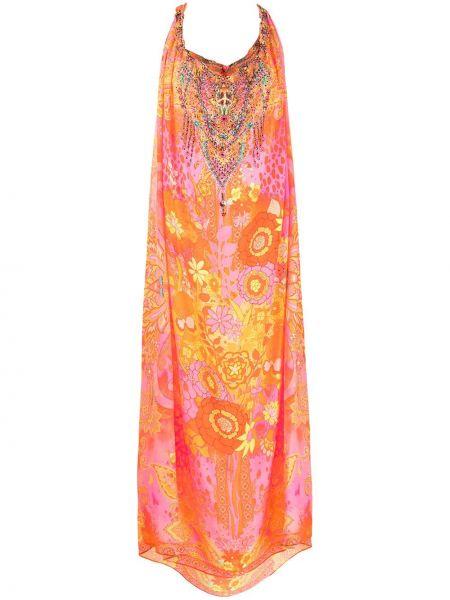 Różowa sukienka długa z jedwabiu bez rękawów Camilla