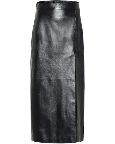 Черная классическая юбка карандаш из натуральной кожи Gucci