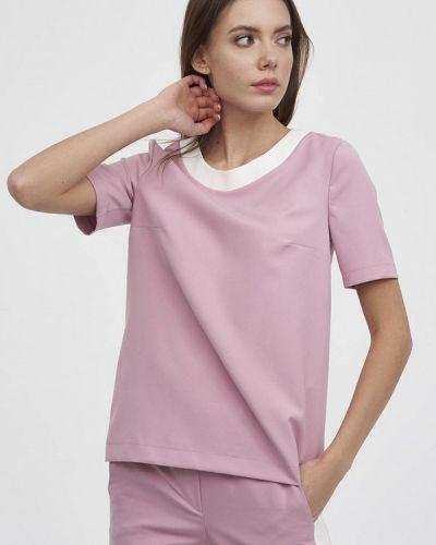 Блузка с коротким рукавом розовая весенний Evalution