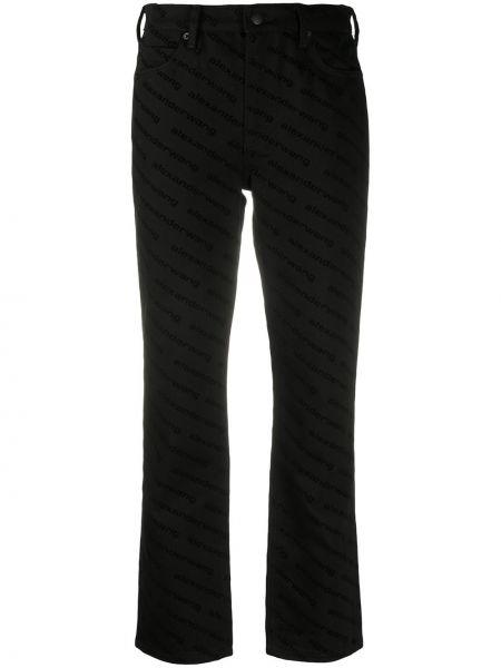 Классические хлопковые черные укороченные брюки с высокой посадкой Alexander Wang