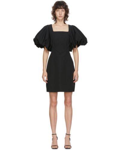 Bawełna czarny sukienka mini z kołnierzem plac Edit