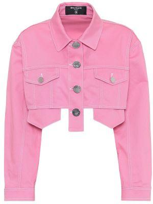 Джинсовая куртка розовая укороченная Balmain