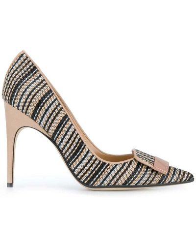 Кожаные туфли в полоску Sergio Rossi