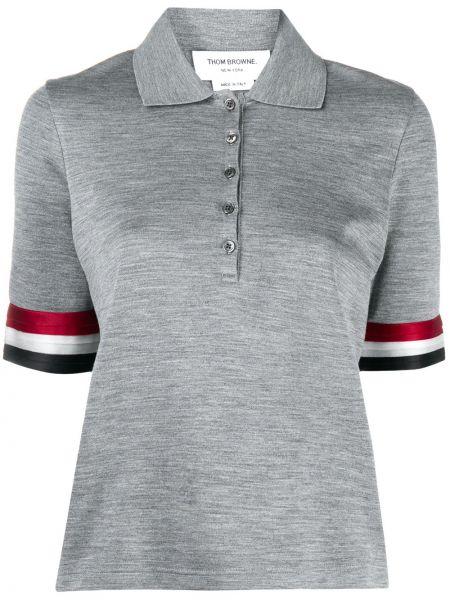 Шелковая прямая классическая рубашка с воротником на пуговицах Thom Browne