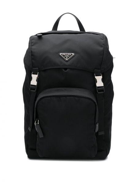 Czarny plecak klamry z nylonu Prada