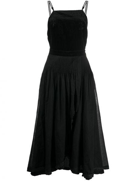 Шелковое черное платье миди на бретелях квадратное Renli Su