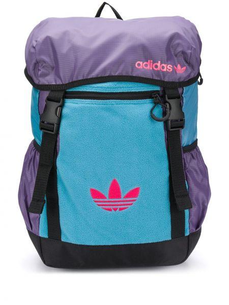 Bawełna ze sznurkiem do ściągania niebieski plecak z kieszeniami Adidas