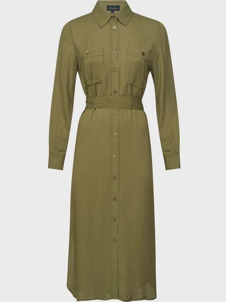 Зеленое платье с поясом на пуговицах Luisa Spagnoli