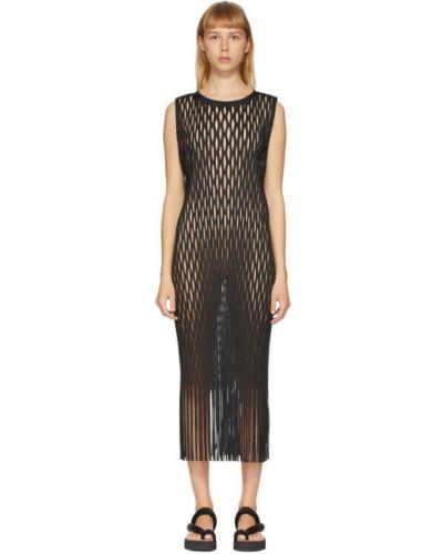 Плиссированное платье с бахромой с воротником без рукавов Issey Miyake
