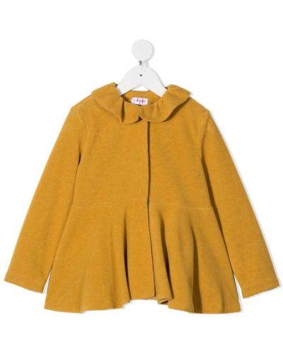 С рукавами желтое длинное пальто с воротником Il Gufo