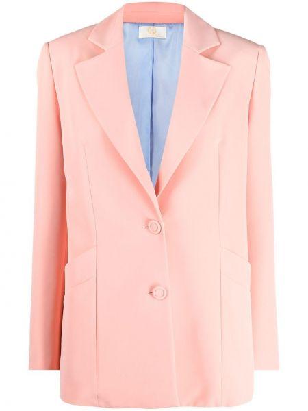 Розовый удлиненный пиджак на пуговицах с лацканами Sara Battaglia
