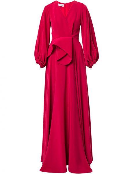 Приталенное вечернее платье с длинными рукавами с V-образным вырезом с драпировкой Azzi & Osta