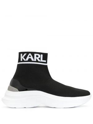 Skórzane sneakersy z logo czarne Karl Lagerfeld