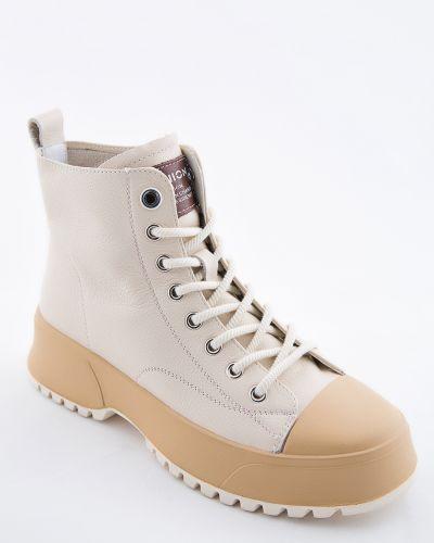 Кожаные ботинки - бежевые Sidestep