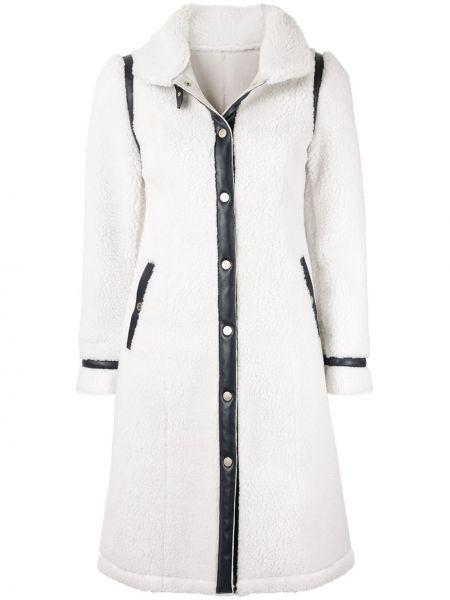 Белое пальто с капюшоном на пуговицах Loveless