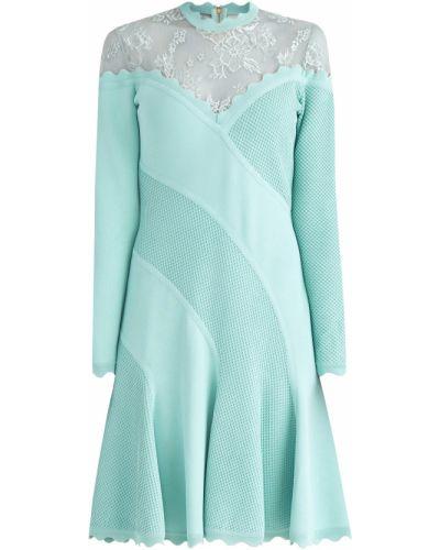 Платье мини с цветочным принтом ажурное Elie Saab