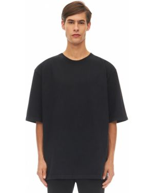 Czarny t-shirt bawełniany oversize Warren Lotas