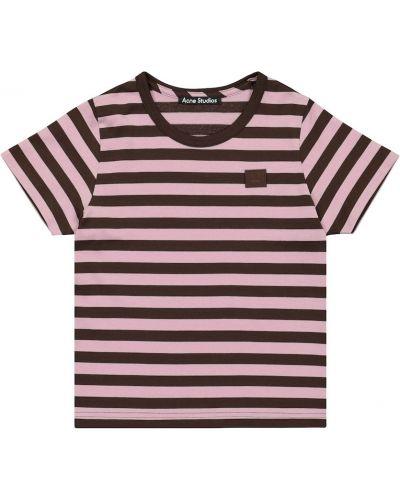 Fioletowy t-shirt w paski bawełniany Acne Studios Kids