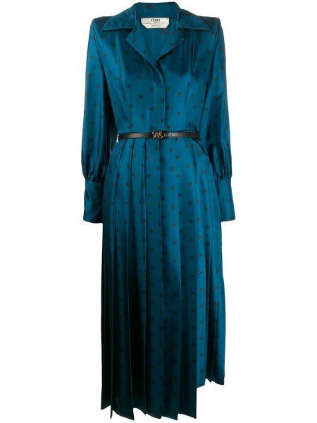 Długo zimowy puchaty z guzikami sukienka Fendi