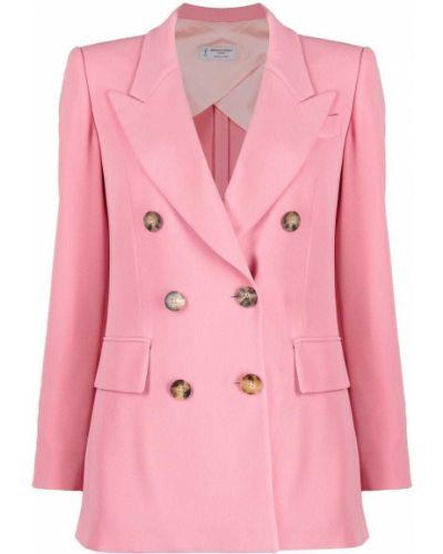 Розовый удлиненный пиджак двубортный с карманами Alberto Biani