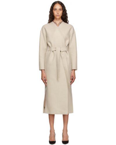 Шерстяное бежевое длинное пальто с воротником с поясом Harris Wharf London