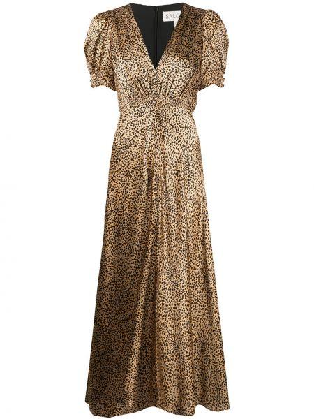 Шелковое платье мини на пуговицах с V-образным вырезом с короткими рукавами Saloni