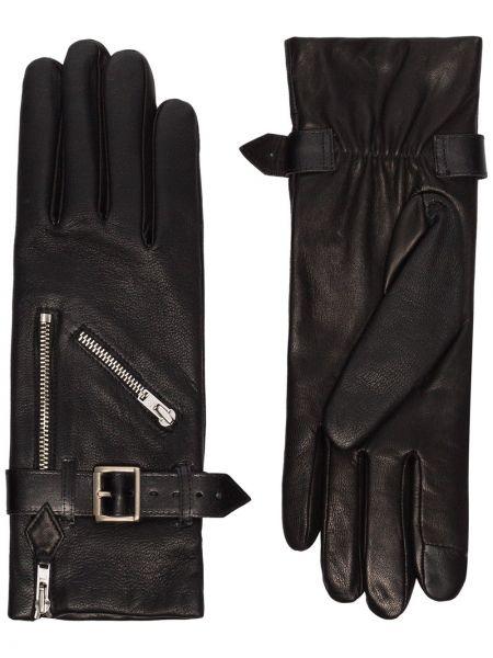 Шелковые черные кожаные перчатки с подкладкой Agnelle