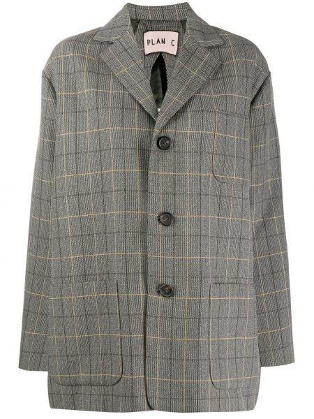 Коричневый классический пиджак оверсайз с карманами Plan C