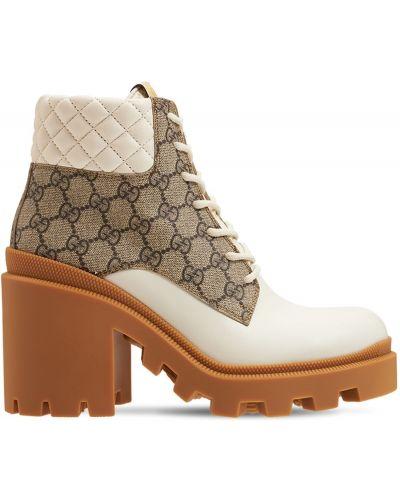 Ботильоны на каблуке - белые Gucci