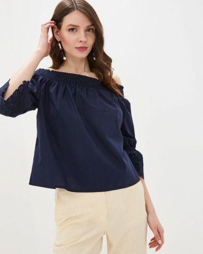 Блузка с открытыми плечами синяя Tom Tailor Denim