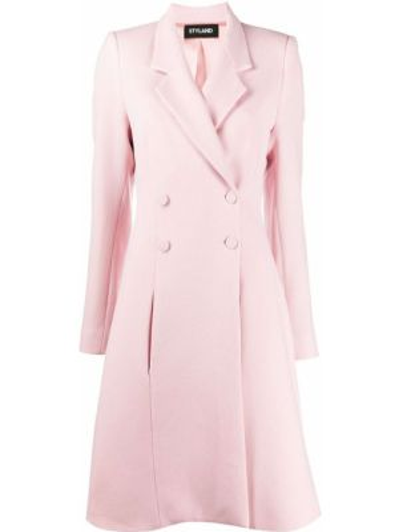 Розовое шерстяное длинное пальто с капюшоном Styland