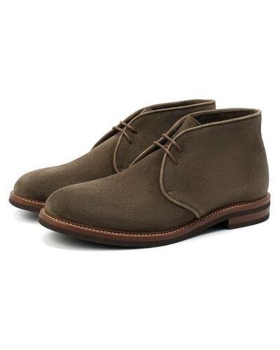 Зеленые кожаные ботинки с подкладкой Brunello Cucinelli