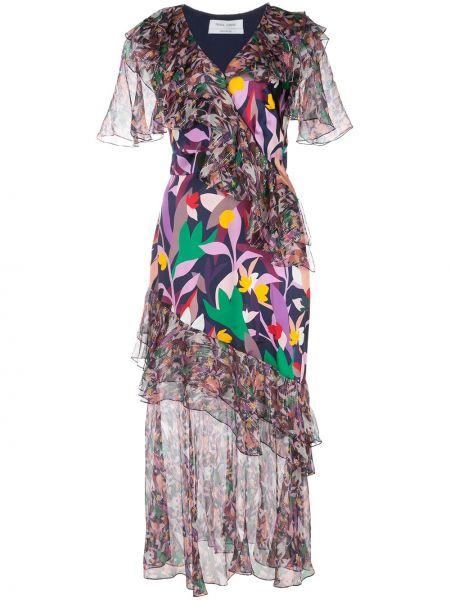 Шелковое платье миди - фиолетовое Prabal Gurung