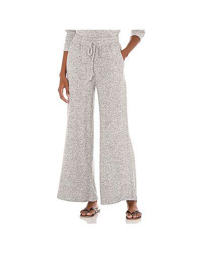 Шелковые серые брюки с поясом в рубчик L*space