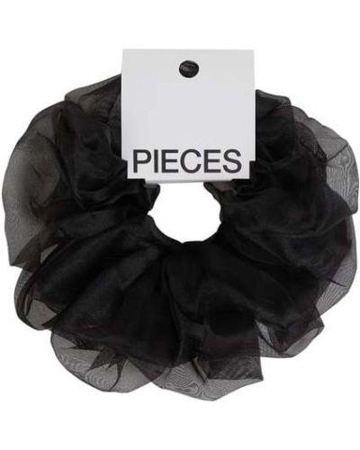 Czarna gumka do włosów Pieces