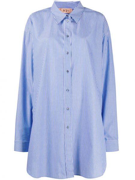 Синяя классическая рубашка с воротником на пуговицах оверсайз N°21
