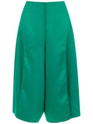 Зеленые брюки с высокой посадкой из вискозы Adriana Degreas