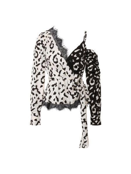 Блузка кружевная с леопардовым принтом Self-portrait