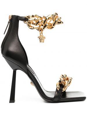 Otwarty czarny skórzany sandały otwarty palec u nogi Versace