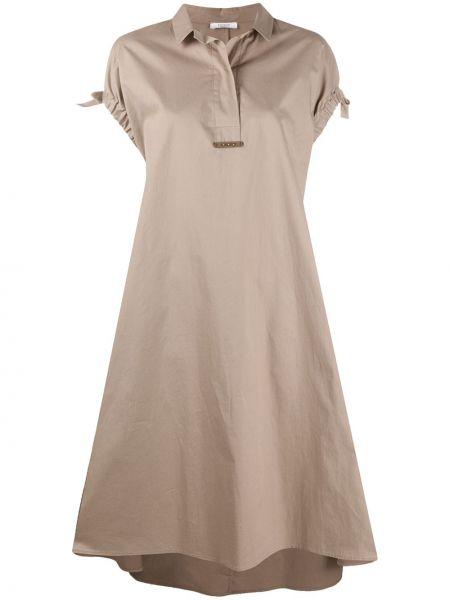 Асимметричное хлопковое платье миди с воротником Peserico