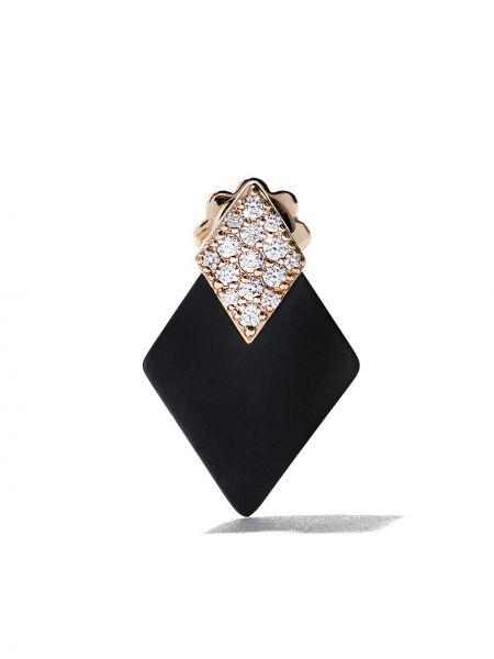 Czarne złote kolczyki sztyfty z diamentem Roberto Demeglio