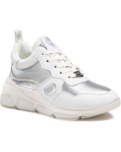 Sneakersy na koturnie srebrne - białe Buffalo